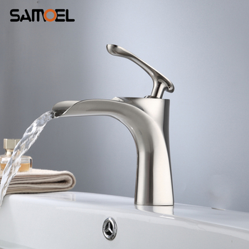 New Type Brass Waterfall Bathroom Faucet Mixer Tap Deck Mounted Single Hole Basin Sink Hot Cold Water Crane NL713