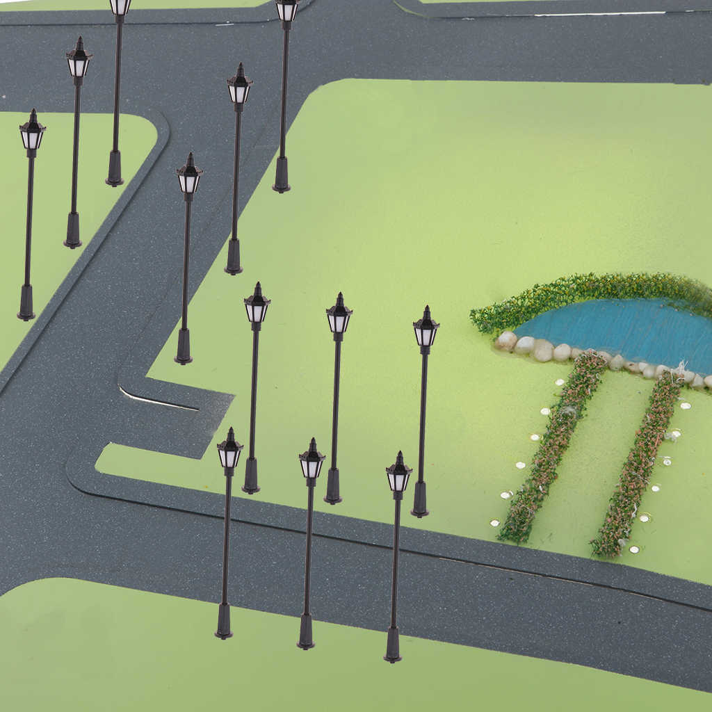 20 sztuk 1:150 modelu kolejowej słup latarni miniaturowe ogród krajobraz światła uliczne HO OO diody led w skali pojedyncze głowy dekoracji