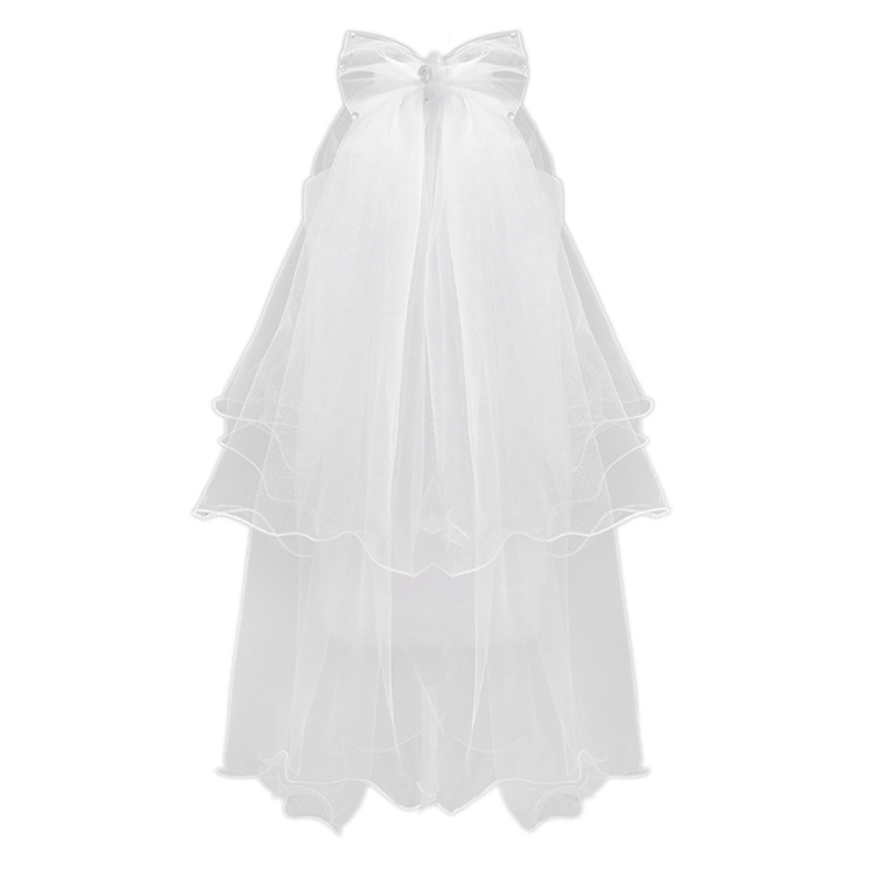 Women Wedding Veil Dress White Bowknot Layers Tulle Ribbon Edge Bridal Veils