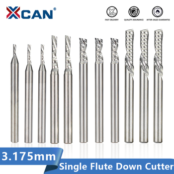 XCAN Single Flute Down Cutter 3.175mm(1/8') Shank Left Hand CNC Router Bit Dia 1-3.175mm Carbide End Mill for Aluminum Cutting - discount item  50% OFF Machinery & Accessories