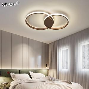 Image 4 - מודרני טבעות LED נברשות תאורה לחדר שינה סלון לבן שחור קפה אורות מתקן מנורות AC90 260V QIYAMEI