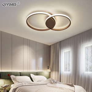 Image 4 - Modern Rings LED Chandeliers Lighting For Bedroom Living Room White Black Coffee Lights Fixture Lamps AC90 260V QIYAMEI