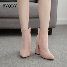 BYQDY New Sexy 2020 Women Boots Block Square Heel Ankle Side Zipper High Heels Knight USA Woman Shoes Wholesale Apricot