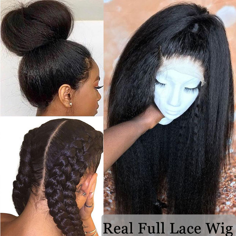 Kinky Straight Wig Human-Hair Ever Beauty Lace-Front 250-Density Full-Lace Women