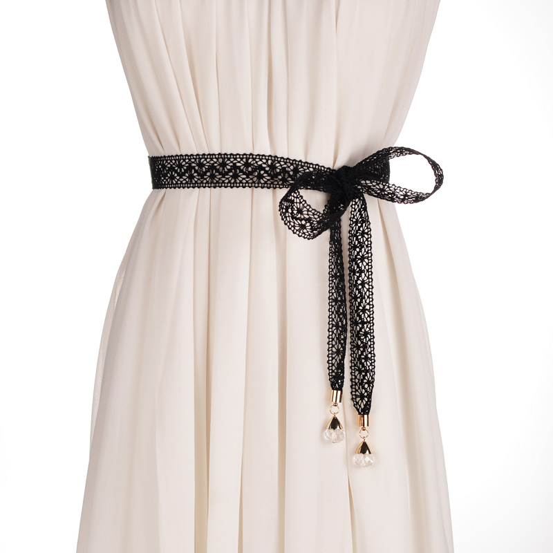 Sweet And Elegant Female Shi Leisi Tie Belt Skirt With Crystal Decorative Bow Waist Chain Crony Narrow Section