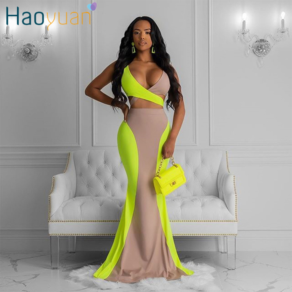 HAOYUAN 2 Piece Skirt Set <font><b>Festival</b></font> Clothing <font><b>Sexy</b></font> <font><b>Bandage</b></font> Crop <font><b>Top</b></font>+Contrast Color Long Skirt Matching Sets Club Outfits for Women image