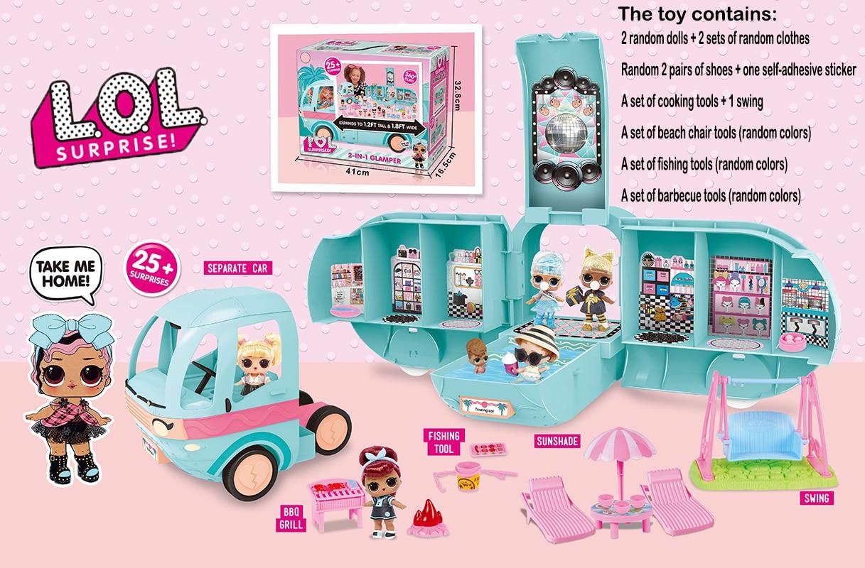 LOL SURPRISE-Coche de pícnic 2 en 1 Original, con 20 Lol, avión sorpresa, juego de vestir, juegos de modelos, regalos para niñas 2