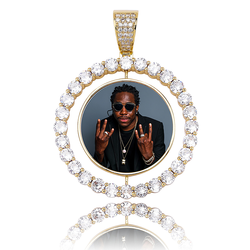 TOPGRILLZ Custom Made Photo Rotating double-sided Medallions Pendant Necklace With 4mm Tennis Chain Zircon Men's Hip hop Jewelry