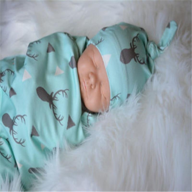 2Pcs Newborn Baby Blanket Cotton Cute Animal Printed Soft Blanket Toddler Kids Sleeping Swaddle Muslin Wrap Geometry Hat Outfits