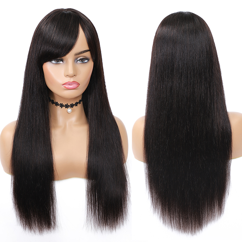 Straight Human Hair Wigs With Bangs Brazilian Long Full Machine Wigs For Black Women Non-Remy Natural Color Human Hair Wig IJOY
