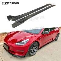 Dry Carbon fiber Side Skirts Aprons for Tesla Model 3 2018 2019 2020 Door Bumper Lip Protector Car Styling