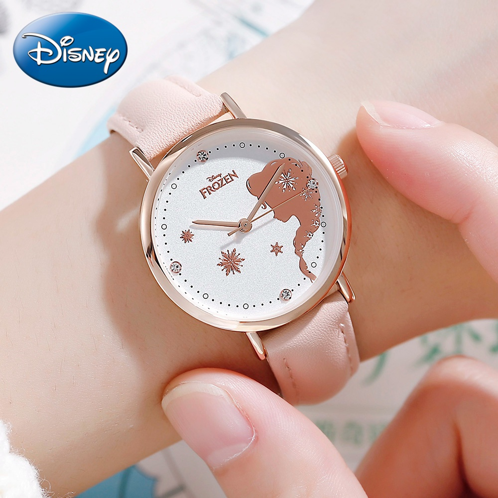 Frozen Princess Girl Beautiful Bling Rhinestone Japan Quartz Watch Children Cuties Fashion Casual PU Steel Round Student Disney