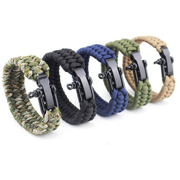 цена на Outdoor Camping Bracelet Survival Emergency Braided Rope Bracelet Men Stainless Steel Adjustable Buckle Hiking Multi Tool D40