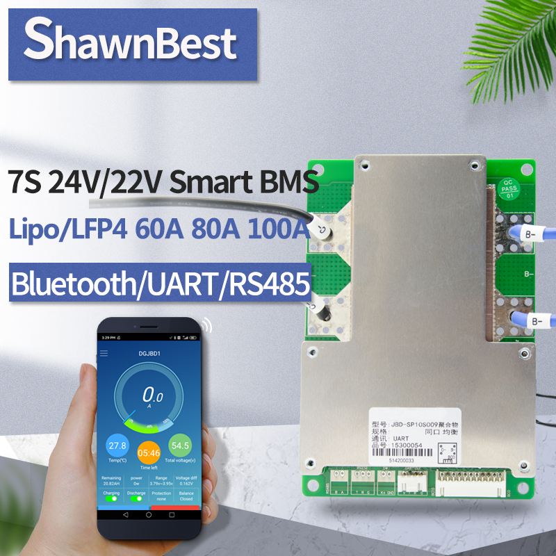 smart bluetooth 7s bms with balance 60a 80a 100a common port 24v lipo 22v lifepo4 Lithium Battery Pr