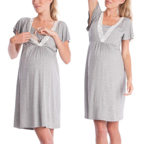 Summer Women Short Sleeve Lace Tunic Pajamas Sleepwear Cotton Nightgown Loose Grey Maternity Pregnant Lounge