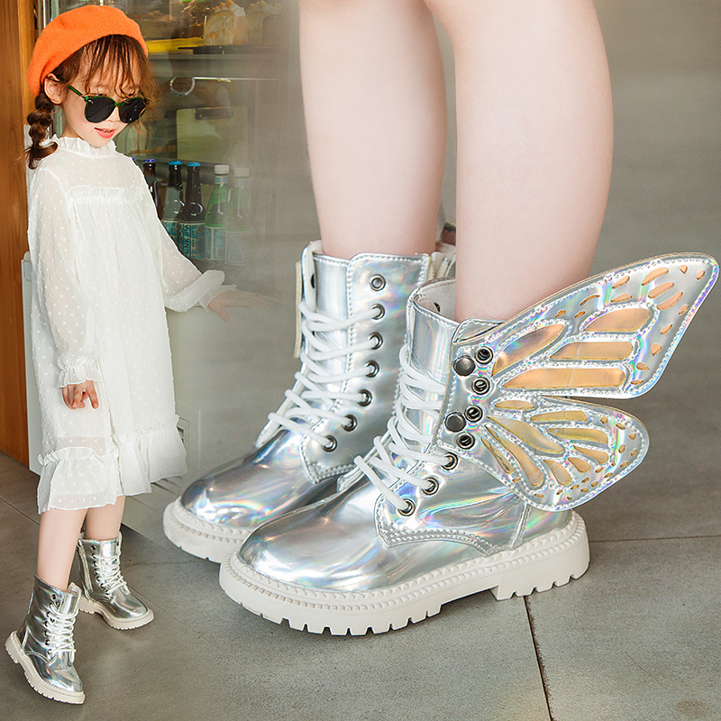 Kids Boots For Girls PU Butterfly Removable Winter Warm Baby Toddle Girl Martin Boots Botas Niña Meisjes Laarzen Snow Boot 2019