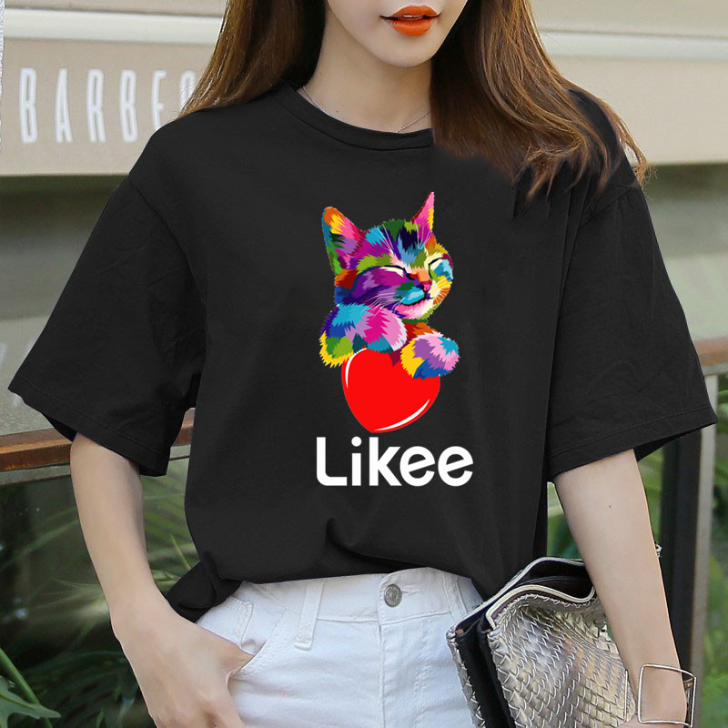Likee App T-shirt Likee Heart Cat Shirt 2020 Cool T Shirt Fun Tee Rainbow T-shirts Women Funny Cat Clothes