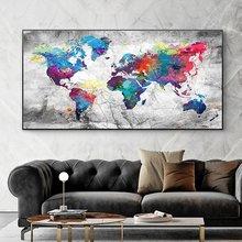 Красочная карта мира холст живопись постеры и принты абстрактная