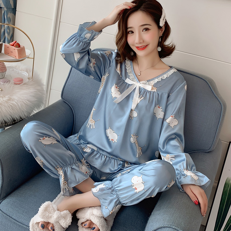 Pajamas Women's Spring And Autumn Viscose Korean-style Students Fresh Mango Long Sleeve Thin Model Silk Tracksuit Two-Piece Set
