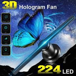 Projektor hologramowy Wifi 3D z wyświetlaczem holograficznym 16G TF 224 LEDs dekoracje świąteczne hologramy Led 42cm sklep znaki śmieszne
