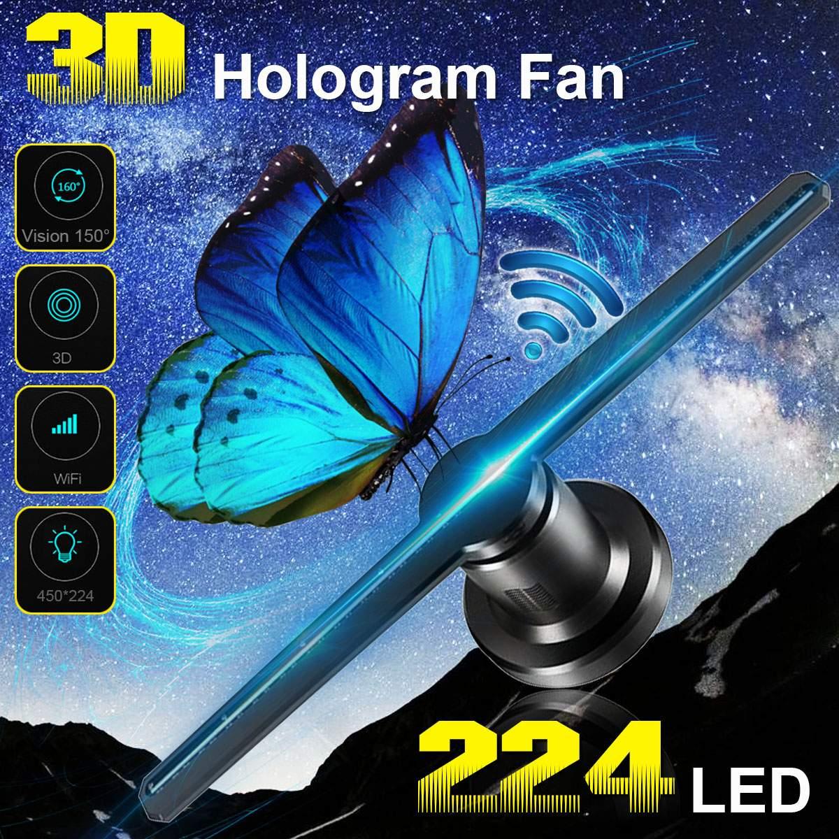 Wifi 3D hologramme projecteur ventilateur avec 16G TF holographique affichage 224 LED s fête décorations hologrammes LED 42cm magasin signes drôle