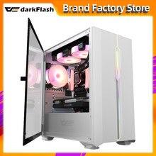 Darkflash-carcasa de ordenador de escritorio DLM23, para gamer completo, mini matx/itx htpc, chasis de vidrio templado, carcasa de ordenador de juego led