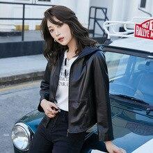 Simple Loose 3xl Spring Black Sheepskin Long Sleeve OL Zipper Hoodie  Jacket Casual Women Genuine Leather Coat
