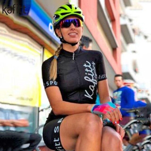 Kafitt das Mulheres Conjuntos de Manga Curta Camisa de Ciclismo Skinsuit Maillot Triathlon Ropa ciclismo Jersey Bicicleta Roupa Ir Macacão Verão 2