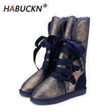 HABUCKN new High Quality Waterproof Classic Snow Boots Genui