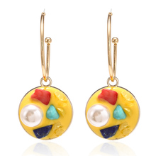 Korean Style Drop Earrings Fashion Personality Pearl Glaze Charm Cute Japanese Womens For Christmas Gift Jewelry