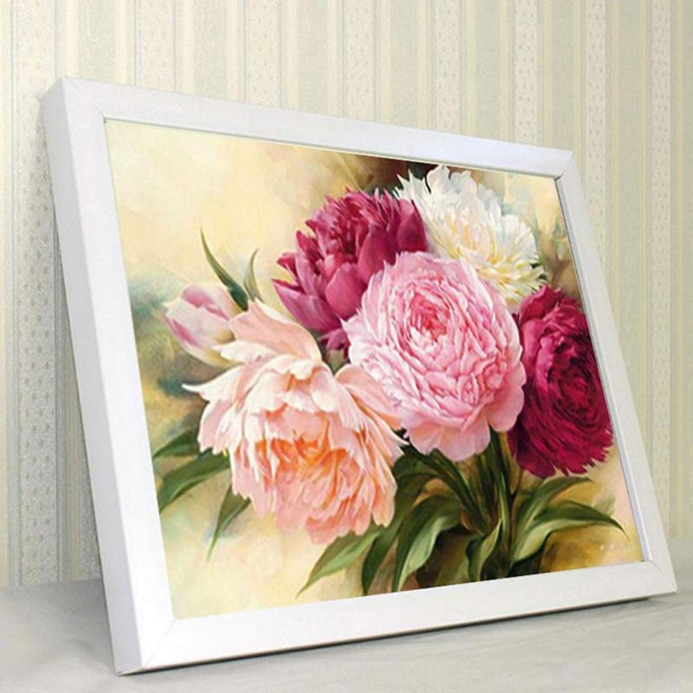 "Diamond Mosaic Diamond Embroidery Beads Peony Flowers Diamonds Cross Stitch Painting DIY No Frame <font><b>12</b></font>""×16"" 40P image"