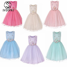 Skyyue Wedding Dress for Girl Kids O-neck Flower Appliques Crystal Tulle Ball Gown Kid Party Communion Dresses 2019 2006 цены онлайн
