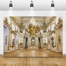Laeacco ślub wieczór panieński tła luksusowy pałac żyrandol Chic ściany wystrój wnętrz fotografia tła Photo Studio
