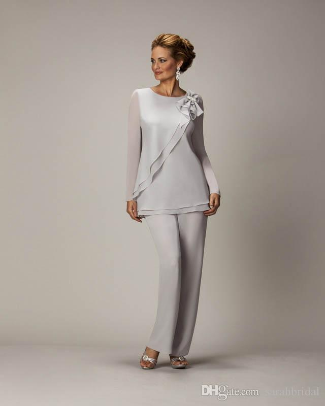 2018 Silver Mother's Pants Suit For Groom Ladies Women Cheap Custom Made Beaded Chiffon Party Gowns Mother of The Bride dresses