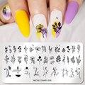 Трафарет NICOLE DIARY для стемпинга ногтей, геометрический шаблон с изображением цветов, Листьев, ногтей, инструменты из нержавеющей стали для са...