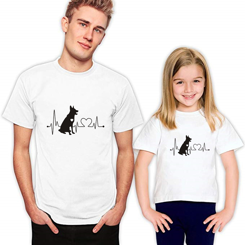 Plus Size Spring Summer Family Look Outfits Animal Dog Daddy and Me Clothes O-Collar Kids Clothes Creative Printing Tshirt image