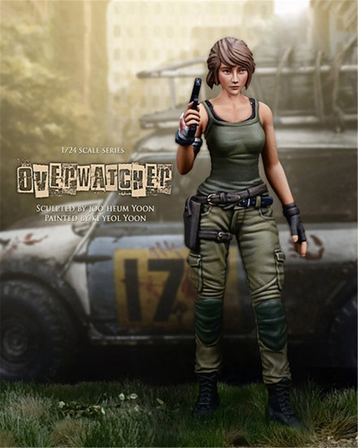75mm Beauty Overwatcher Soldier Resin Figure 1/24 Scale Model Figure Resin Kit Colorless Self-Assembled Toy