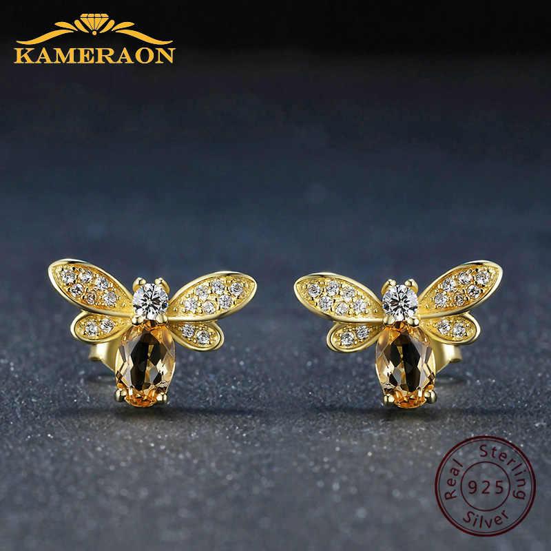925 סטרלינג כסף עגיל לנשים טבעי Ametrine אבן תכשיטי 18K זהב-מצופה חן הרבעה אוזן אופנה קטן דבורה מאהב