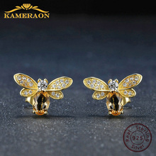 925 sterling silver earring for women Natural Ametrine stone  jewelry 18K gold plated gemstone stud ear Fashion small bee lover