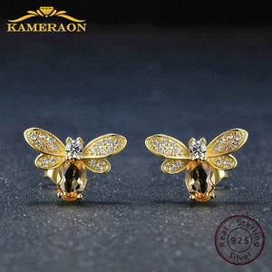 Image 1 - 925 sterling silver earring for women Natural Ametrine stone  jewelry 18K gold plated gemstone stud ear Fashion small bee lover