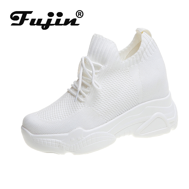 Fujin Women Knit Upper Breathable Wedges Sock Shoes Dropshipping Woman Chunky Shoes Shoes Unisex Mesh Female White Sneakers