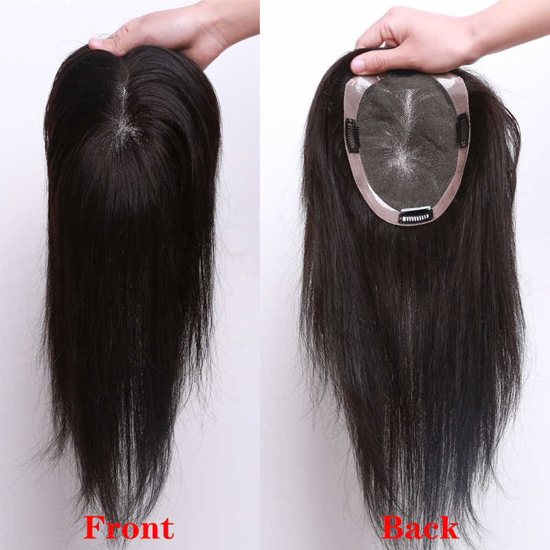 """15x16,16x18 ludzki włos peruka na czubek głowy dla kobiet 8 """"-14"""" prosto mono + pu baza z klipsami w włosy peruka Remy Hairpiece"""