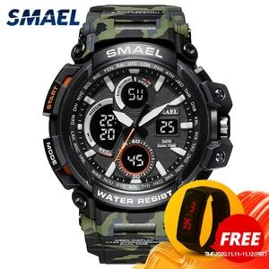 Image 1 - Smael Sport Horloges Waterdicht Mannen Horloge Led Digitale Horloge Militaire Mannelijke Klok Relogio Masculino Erkek Kol Saati 1708B Mannen Horloge