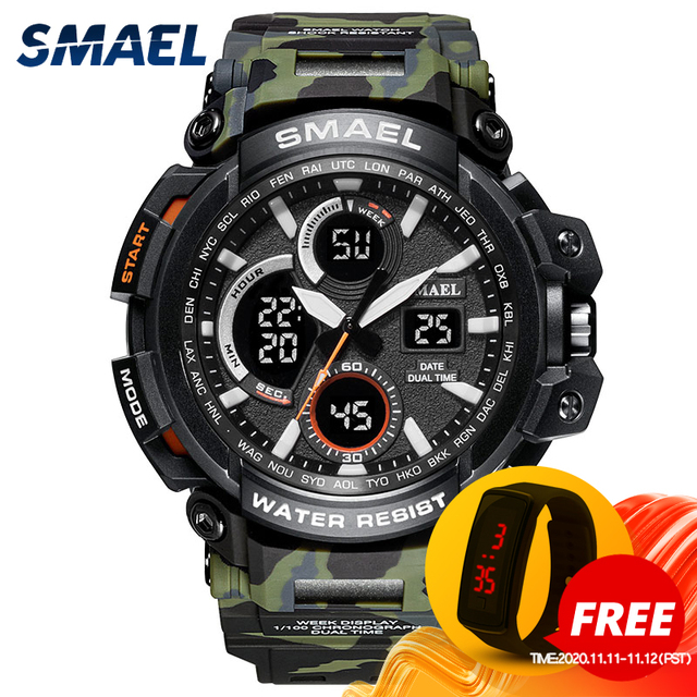 Smael Sport Horloges Waterdicht Mannen Horloge Led Digitale Horloge Militaire Mannelijke Klok Relogio Masculino Erkek Kol Saati 1708B Mannen Horloge