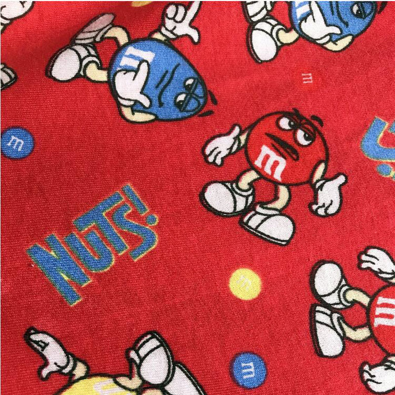 Good Red <font><b>Cartoon</b></font> M&M Beans knitted Cotton Fabric Mr. M .M Beans Printed Stretch Fabric DIY Sewing Children Clothing T-shirt image