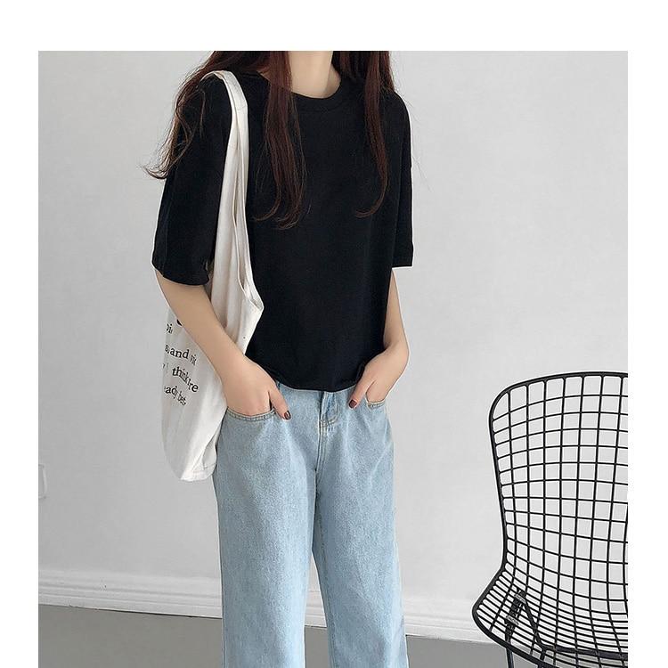 H10fdb97997aa4602b0ccc43491f4dfe93 - Summer O-Neck Short Sleeves Minimalist Loose Basic T-Shirt