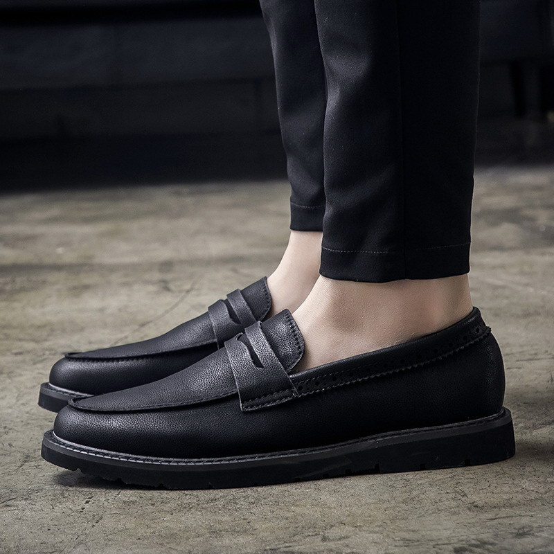 Concise Mens Leisure Dress Shoes Black British Designer Round Toe Slip On Trending Loafer Casual Shoes For Man Size 38-44