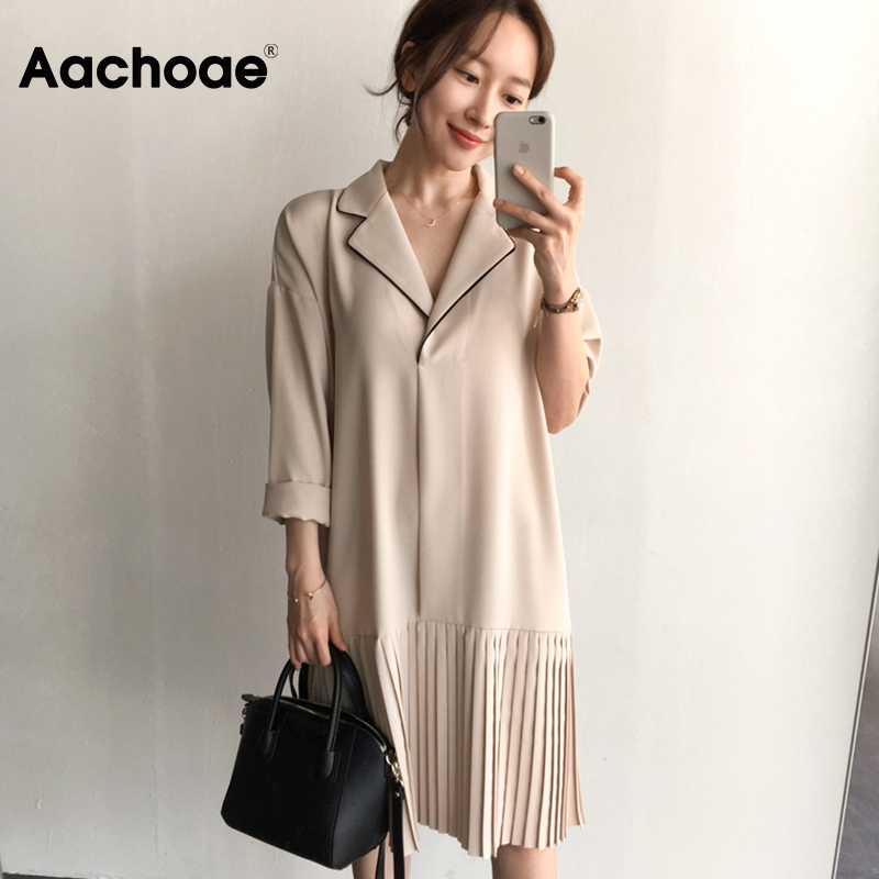 Aachoae Office Wear Midi Dress Women Batwing Long Sleeve Casual Loose Dresses Notched Collar Solid Pleated Shirt Dress Vestidos