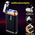 Светодиодный фонарик 2A Power Bank электрическая зажигалка для сигарет умная сенсорная индукция двойная Arc электронная USB Зажигалка зарядное уст...