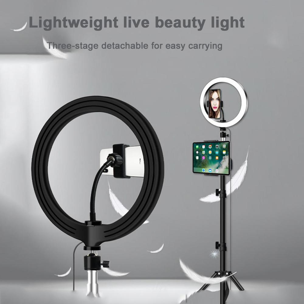 LED Ring Light 20/26cm Dimmable Selfie Ring Lamp Photography Makeup Light With Tripod Phone Holder USB Plug For Video Youtube